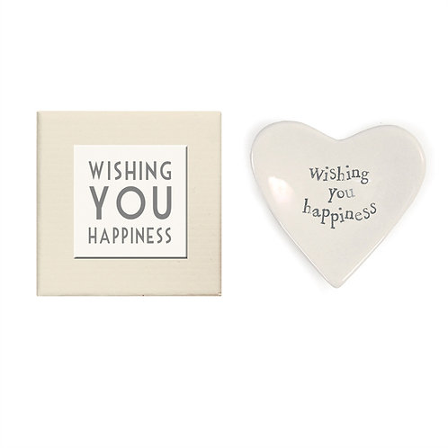 """Wishing You Happiness"" Heart Decorative Dish in Gift Box - Porcelain"