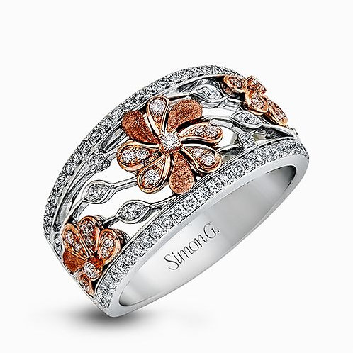 Simon G. DR312 18K White and Rose Gold Garden Collection Floral Right Hand Ring
