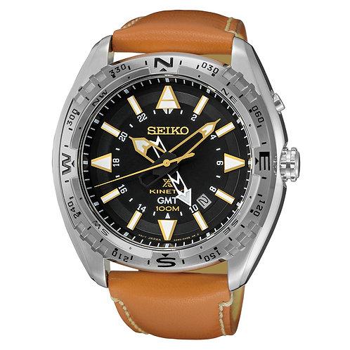 Seiko SUN055 Men's X Prospex Stainless Steel Orange Leather Strap Band Black Dia