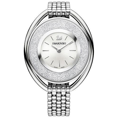 Swarovski Crystalline Oval Watch, Metal Bracelet, White, Silver Tone
