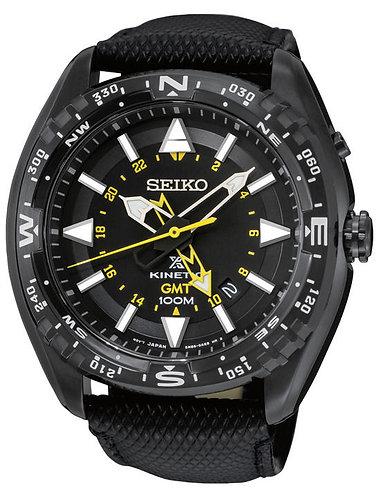 Seiko SUN057 Men's X Prospex Black Leather Strap Band Black Dial Watch