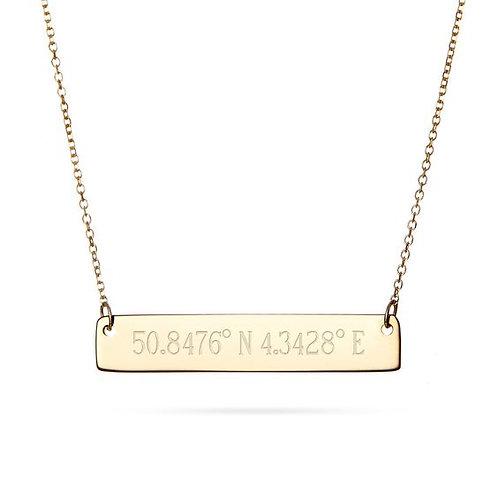 14 Karat Solid Yellow Gold Medium Polished Blank Bar With Chain