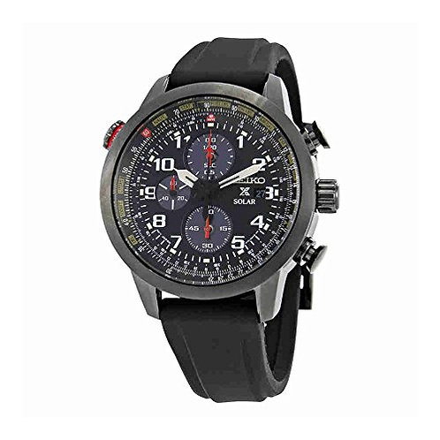 Seiko Solar Chronograph Black Ion Flight Silcone Black Dial Men's Watch SSC371