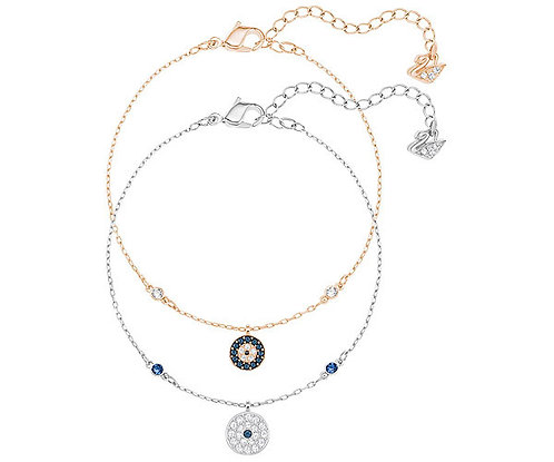 Swarovski crystal Wishes Evil Eye Bracelet Set, Blue