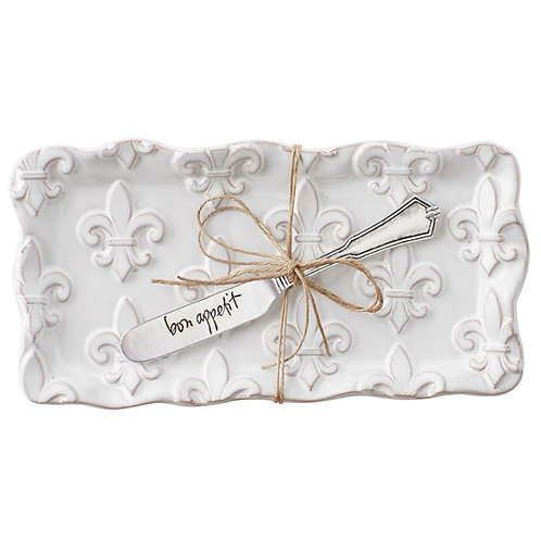 Mud Pie Fleur De Lis Terra Cotta Butter Dish Set