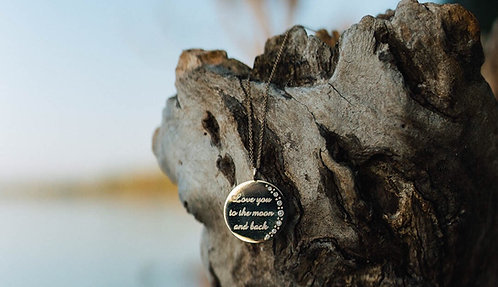 """14 Karat Yellow Gold with Diamonds Love You to the Moon and Back"""" Custom Pendant"""