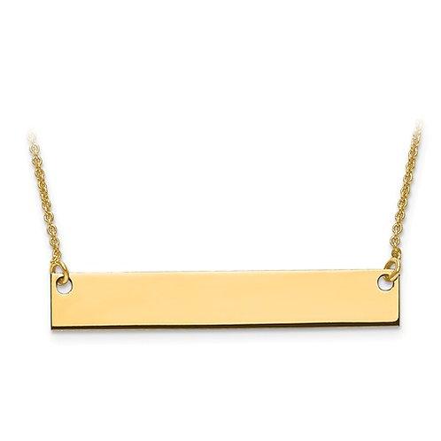 10 Karat Medium Solid Gold Polished Blank Bar With Chain