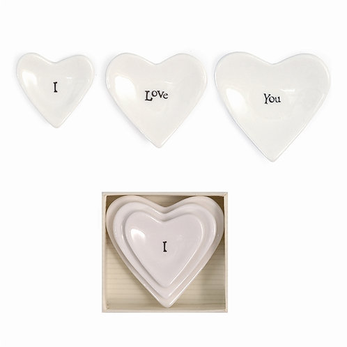 """I Love You"" Set of 3 Stackable Hearts in Gift Box - Porcelain"