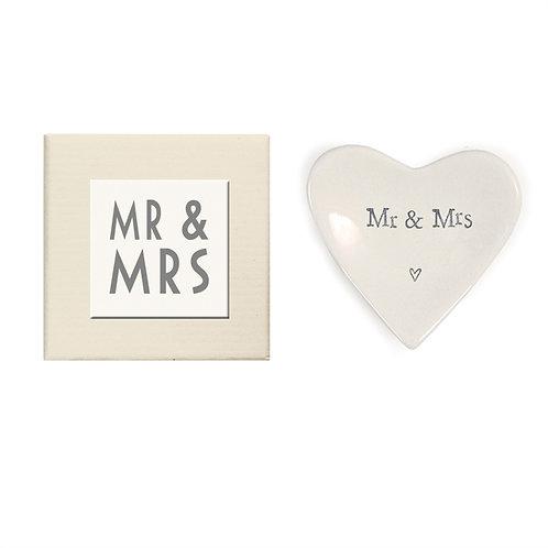 """Mr & Mrs"" Heart Decorative Dish in Gift Box - Porcelain"