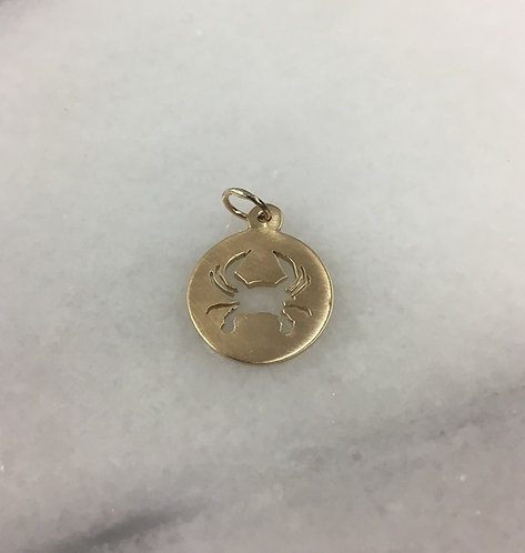 14 Karat Yellow Gold Custom Crab Charm