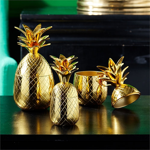 Warm Welcome Golden Pineapple Canister with Lid
