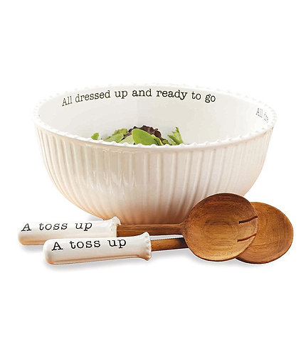 """Mud Pie """"All Dressed Up and Ready to Go"""" Circa Salad Bowl Set"""