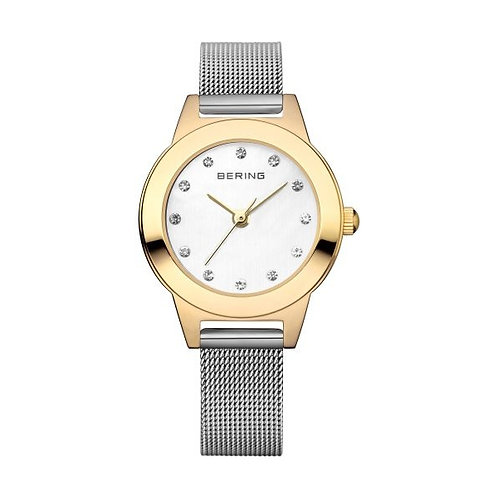 BERING 11125-010 Shiny IP Gold Case Women's Watch Silver Mesh Strap BERING 1112