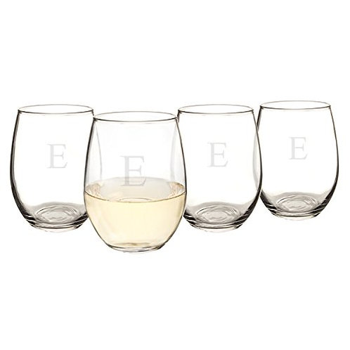 Monogrammed Stemless 15 Oz. Wine Glasses (Set of 4)