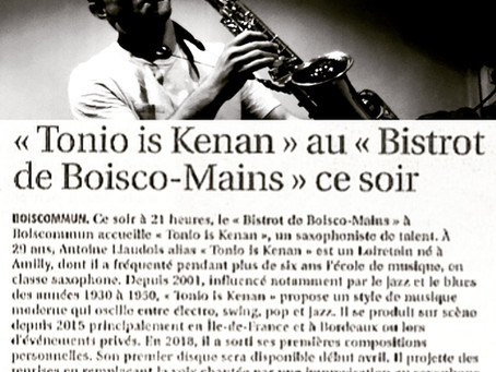 Tonio is Kenan dans le journal de La République du Centre - Février 2019