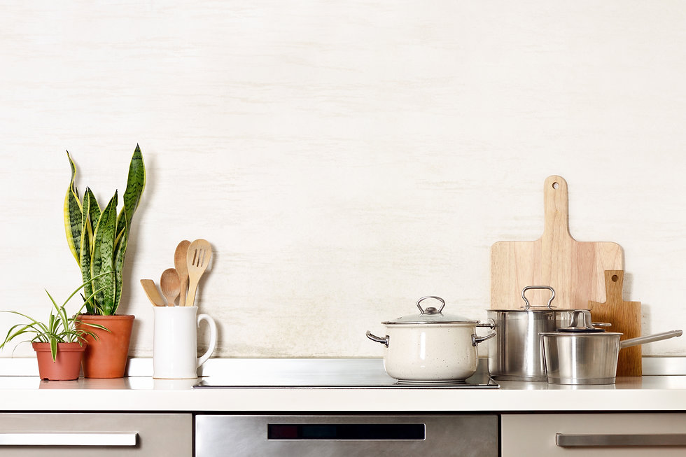 Kitchen utensils on a modern home kitche