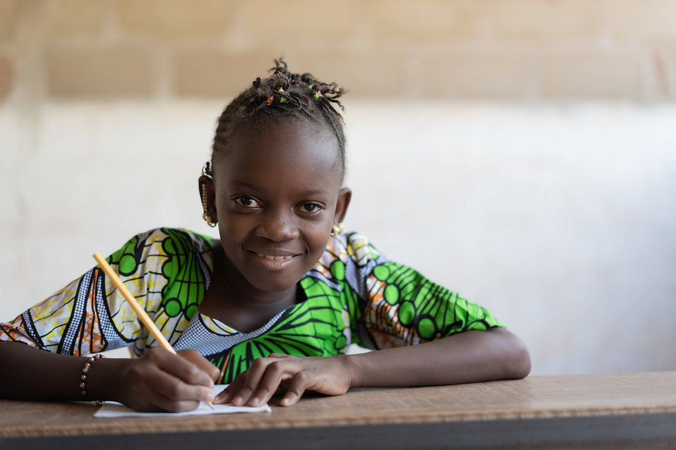 Portrait of Cute African Girl at School