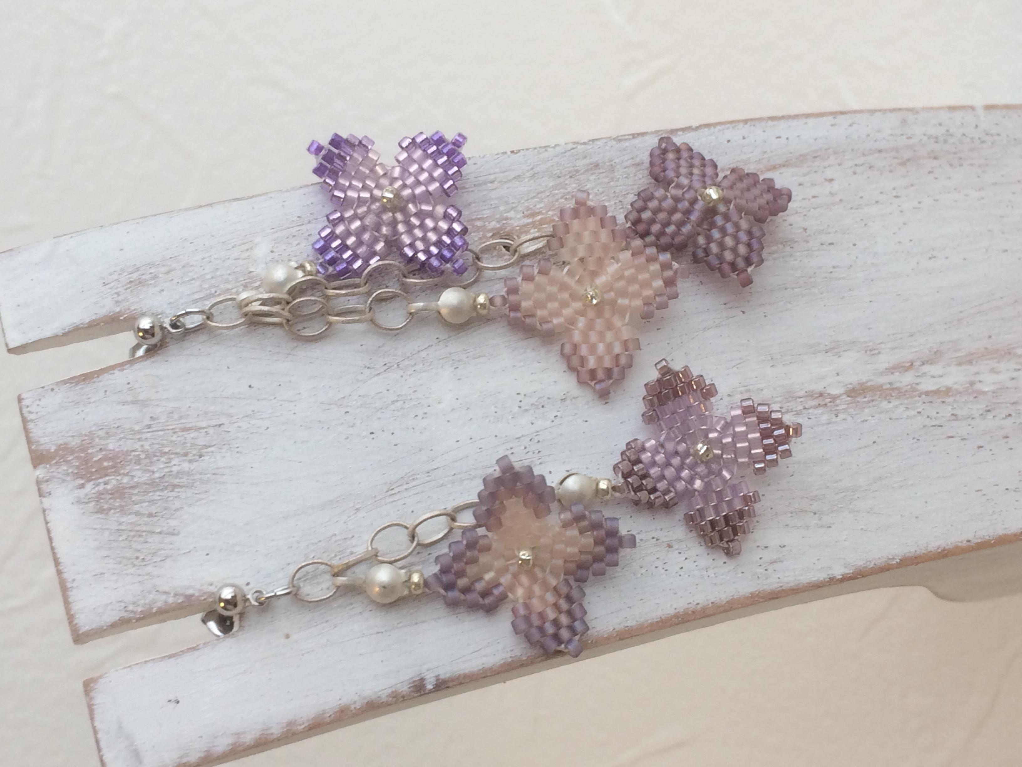 紫陽花のピアス 薄紫