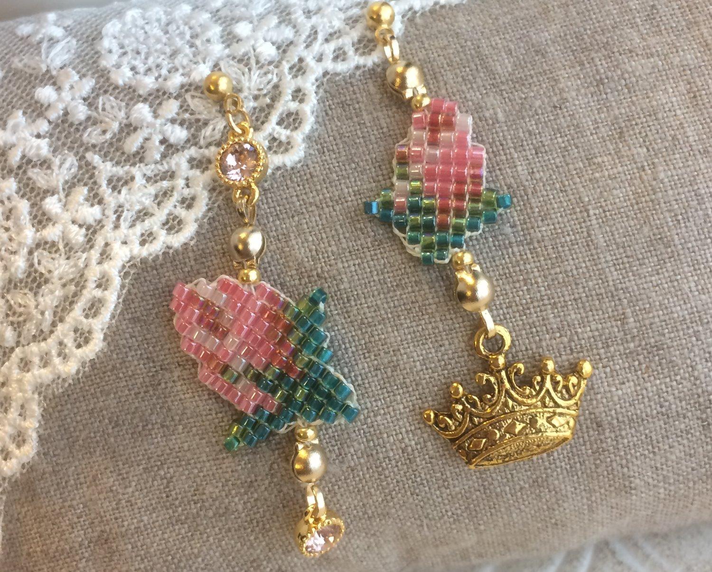 バラの蕾のピアス