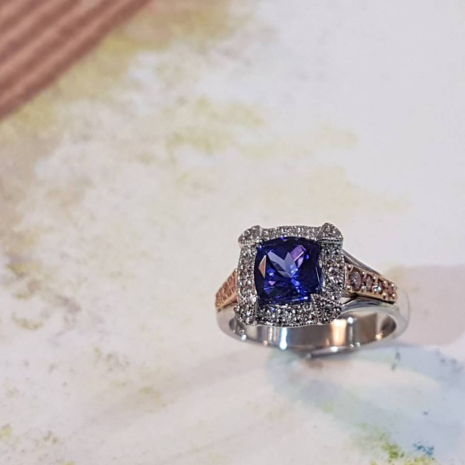 Blue Tanzanite & Diamond