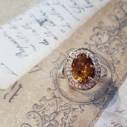 Peach Tourmaline & Diamond