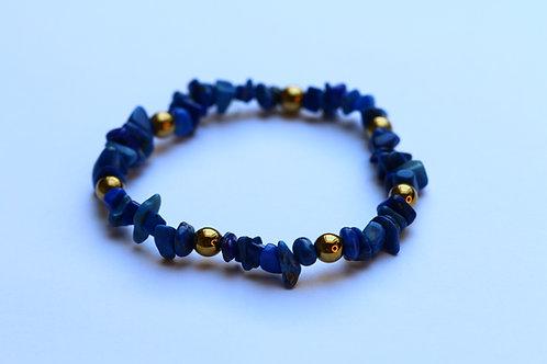 Lapis Lazuli en verguld hematiet armband