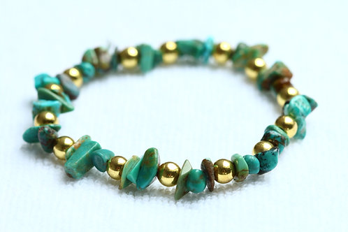 Turquoise en Goldplated Hematiet armband