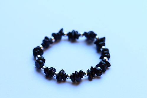 Zwarte Toermalijn en verzilverd hematiet armband