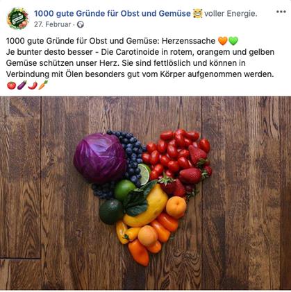 """Social Media – Kanalpflege und Community Management für """"Obst und Gemüse – 1000 gute Gründe"""""""