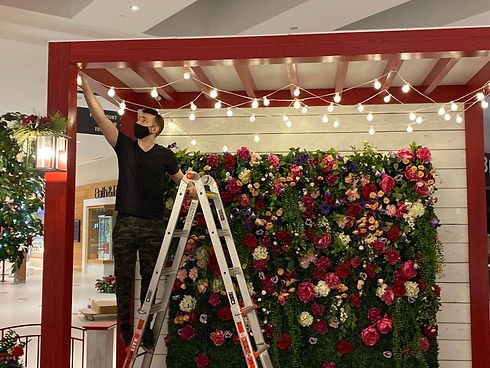 Spring holiday decor installation for malls