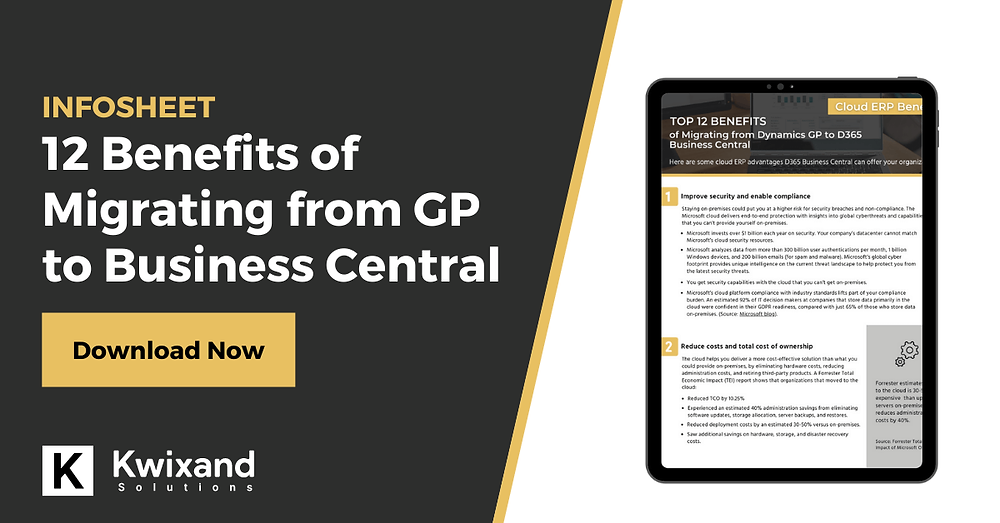 12 benefits of migrating from GP to Business Central