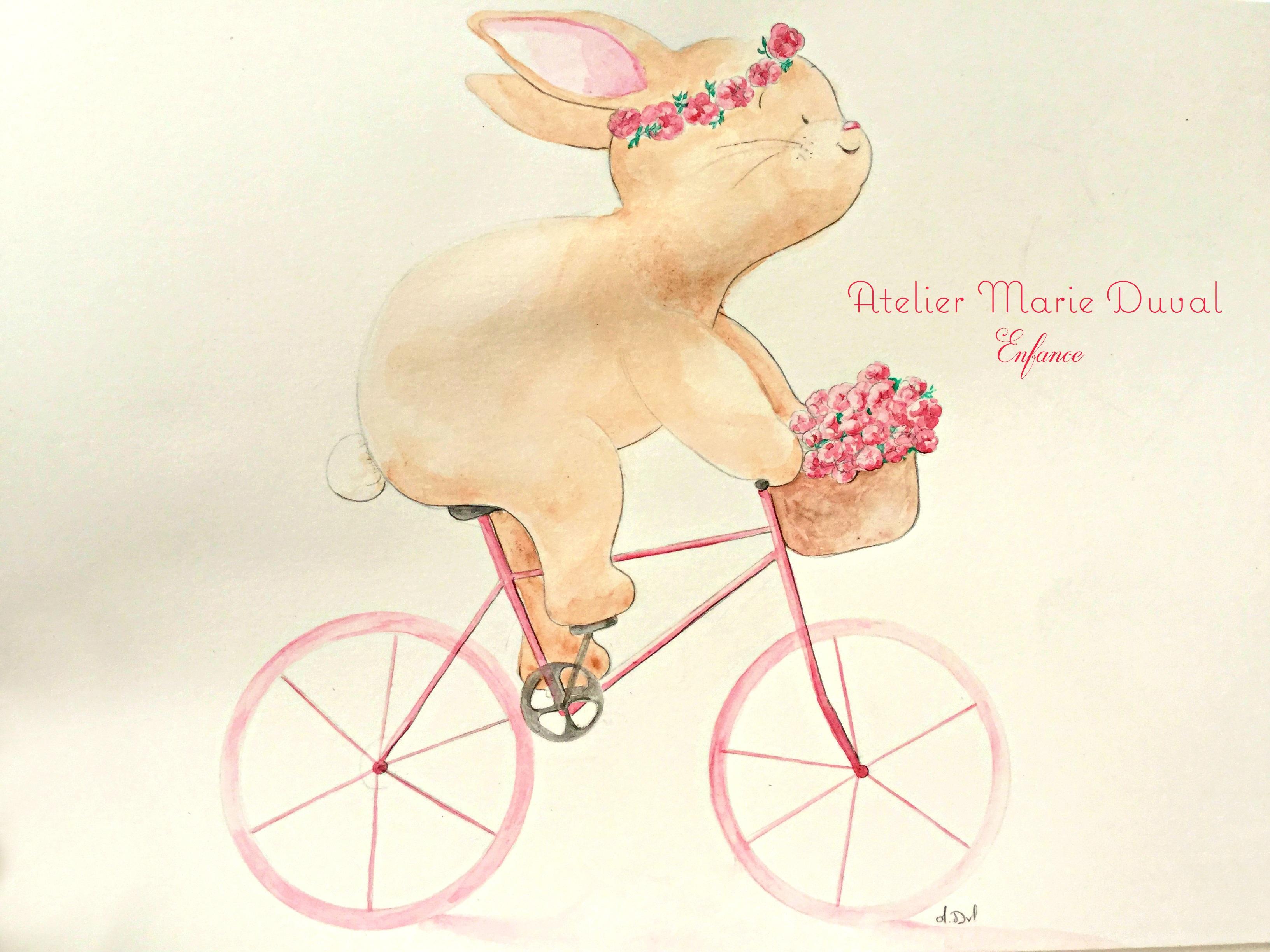 Carte postale enfant lapine à vélo