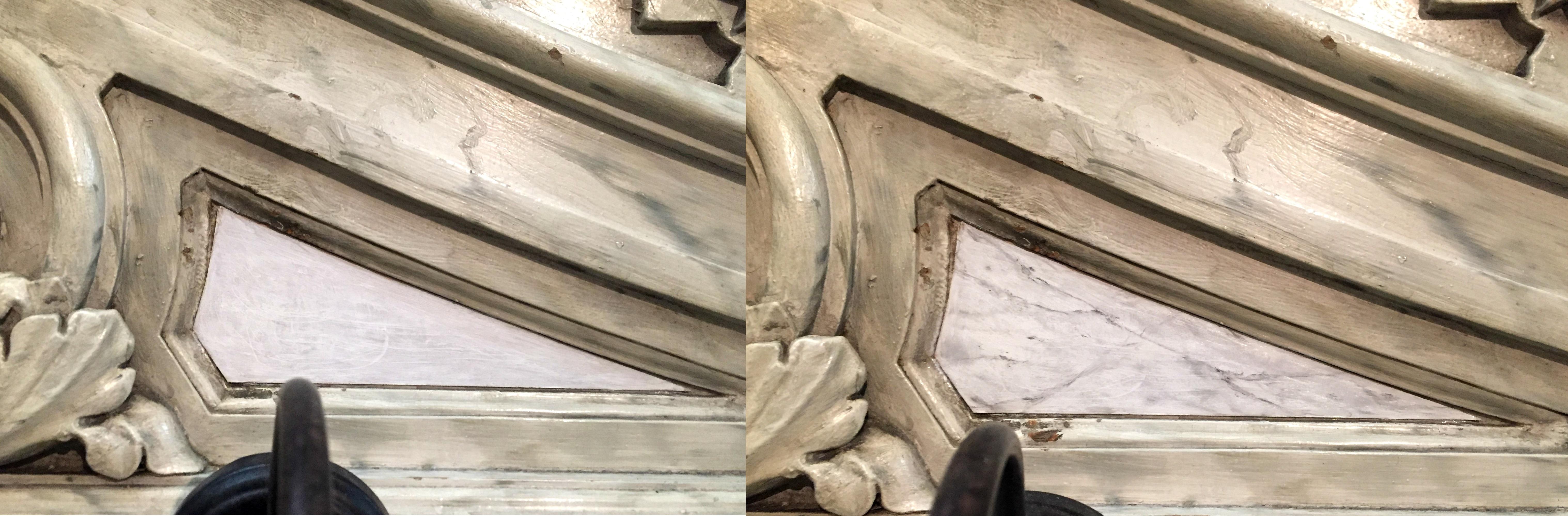 Imitation de marbre blanc veiné