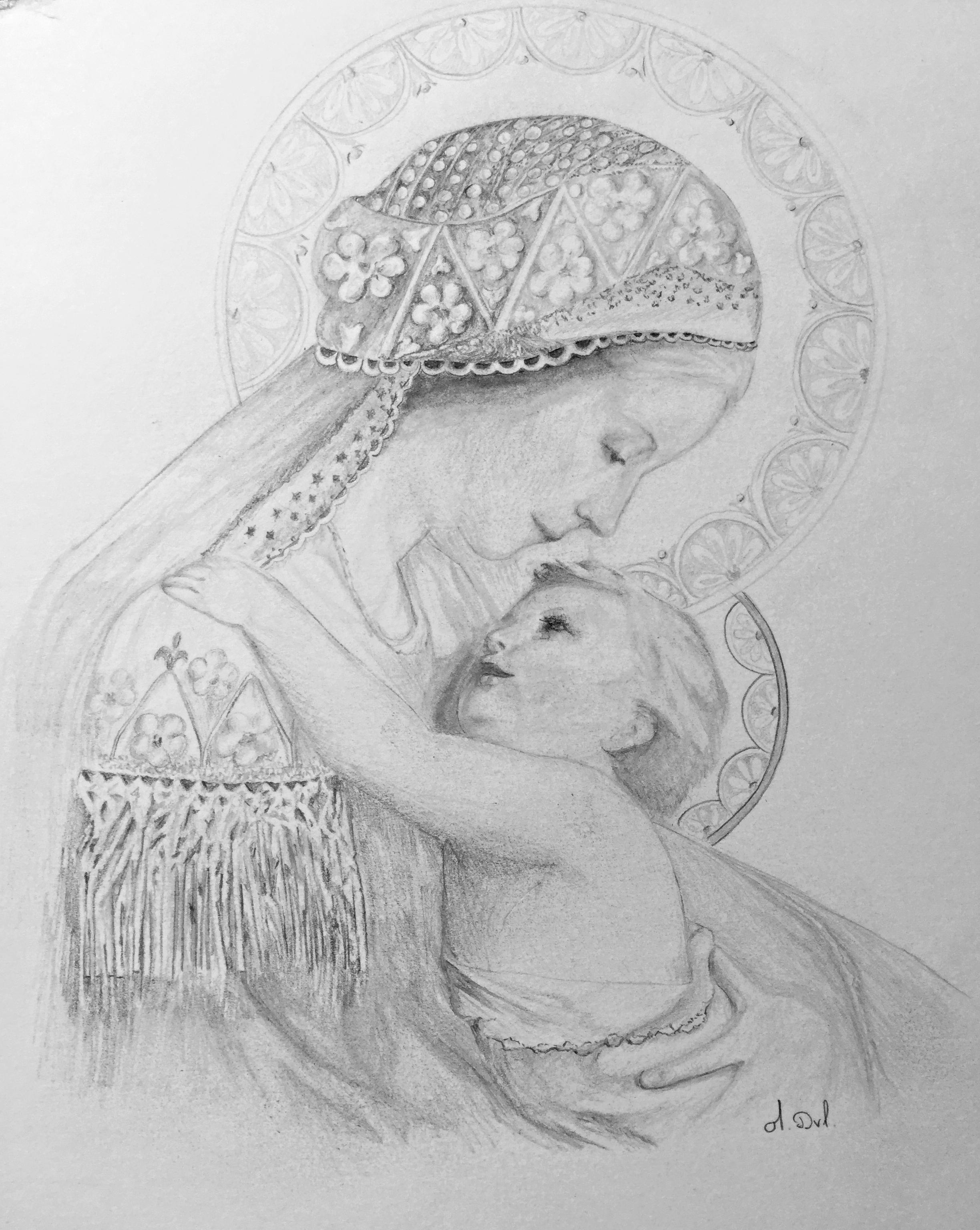 Carte postale vierge à l'enfant