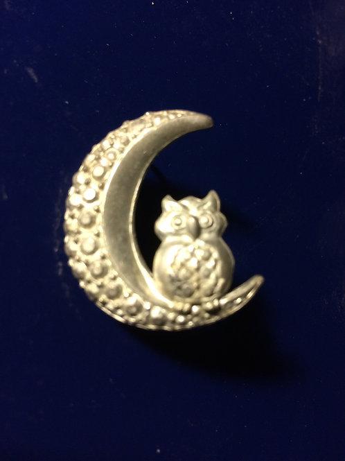 Owl At the Moon Pin