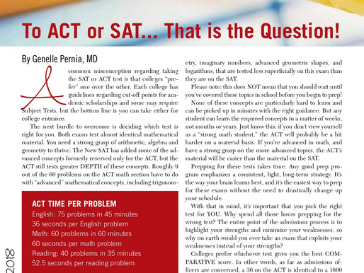 To ACT or SAT.... That Is The Question!