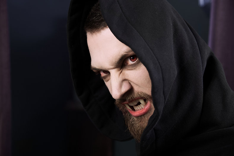 Male vampire ready to attack and eat blo