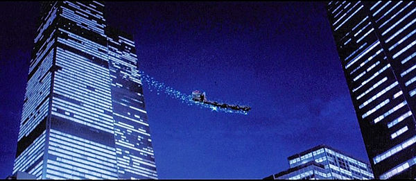 The Twin Towers are majestically displayed in this scene from SANTA CLAUS: THE MOVIE thedigitalcinema.info
