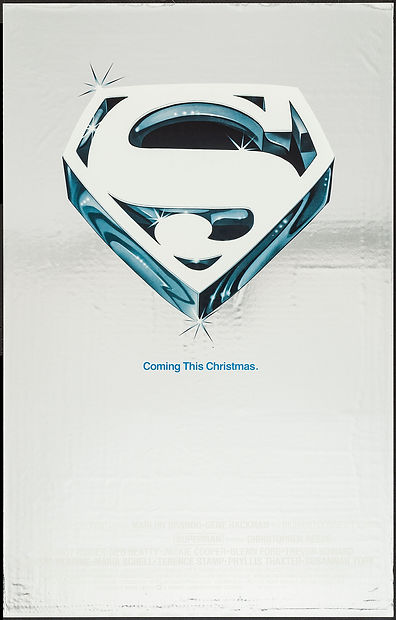 Prerelease foil poster for SUPERMAN: THE MOVIE as seen posted at thedigitalcinema.info