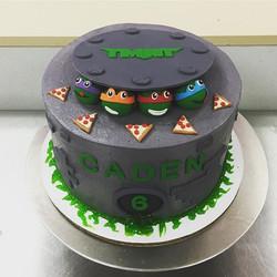 Raphael, Michelangelo, Leonardo, and Donatello wish Caden an incredible ninja birthday! 🐢🎉🍕 #ninj