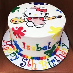 Hello kitty unleashing her creative side! #goldiesgoodiesbakery #hellokitty #paintsplatters #customc