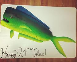 Great catch Tyler that mahi didn't stand a chance! 🐟😊🎣 #goldiesgoodies #bakery #fishing #mahimahi