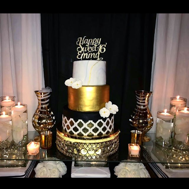 Emma's Sweet Sixteen was GORGEOUS! Black and gold mixed with a modern flare and a touch of marble de