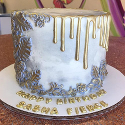 Bas Relief style gold drip  cake