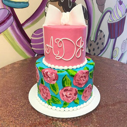 Hand painted Lily Pulitzer inspired baby shower cake!_._._._._._