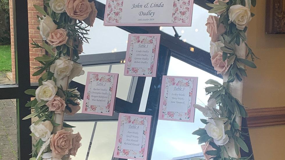 Floral Mirror Seating Plan