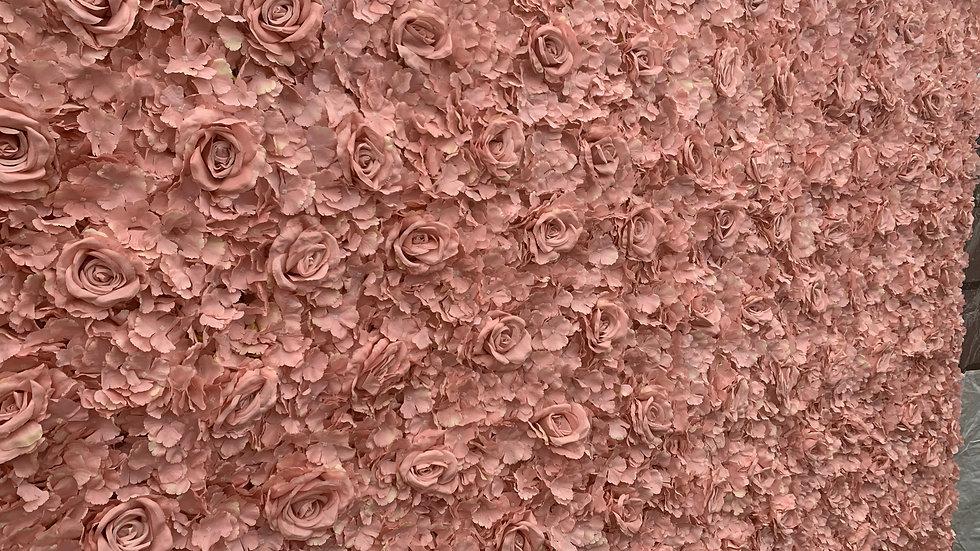 Pink Rose & Hydrangea Flower Wall