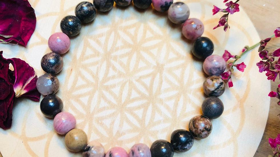 Bracelet Rhodonite - Pierre de coeur