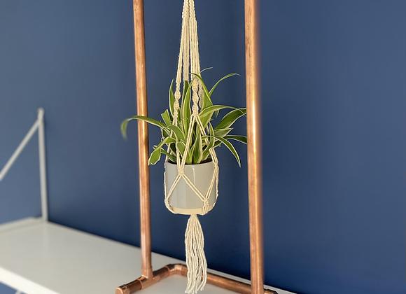 Copper framed mini macrame plant hanger