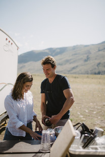 Camping at Carbella Recreation site in Montana, in a renovated 1962 Airstream Overlander, by Coviello Photo.